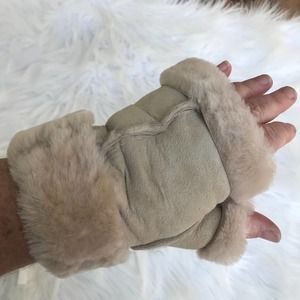 Shearling Fingerless Mittens